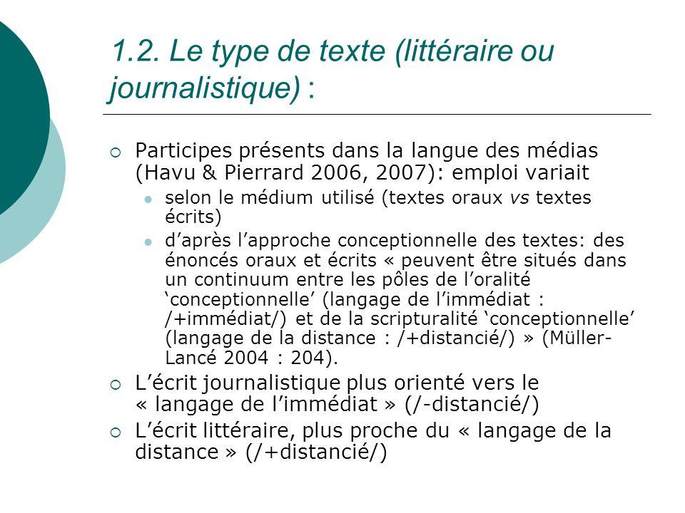 Tableau 1: Corpus journalistique et corpus littéraire corpusPPantPPéAdjTOTAL J1 / J137906133 J2 / J24148291 J3 / J 3388915142 J4 41-- 41 corpus J 116 157 22723366 [407] R1765221149 R21091938 R3--5712 corpus L866647199