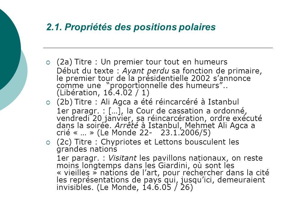 2.1. Propriétés des positions polaires (2a)Titre : Un premier tour tout en humeurs Début du texte : Ayant perdu sa fonction de primaire, le premier to