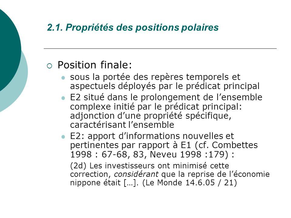 2.1. Propriétés des positions polaires Position finale: sous la portée des repères temporels et aspectuels déployés par le prédicat principal E2 situé