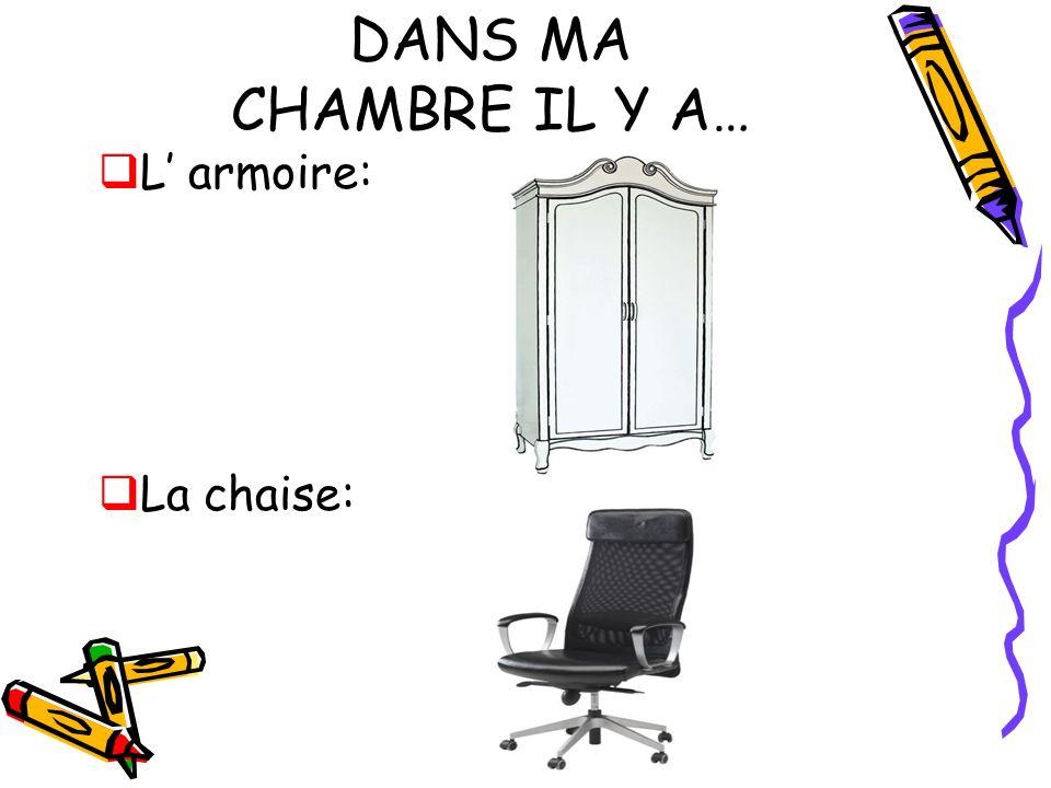 DANS MA CHAMBRE IL Y A… L armoire: La chaise: