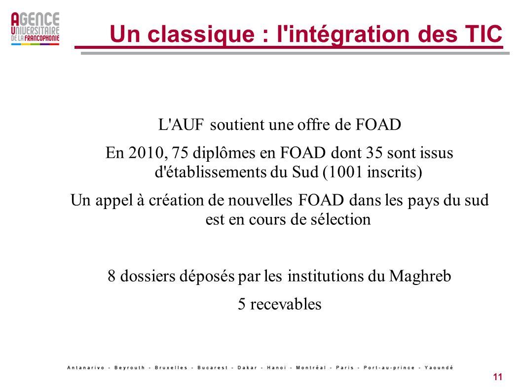 11 Un classique : l intégration des TIC L AUF soutient une offre de FOAD En 2010, 75 diplômes en FOAD dont 35 sont issus d établissements du Sud (1001 inscrits) Un appel à création de nouvelles FOAD dans les pays du sud est en cours de sélection 8 dossiers déposés par les institutions du Maghreb 5 recevables