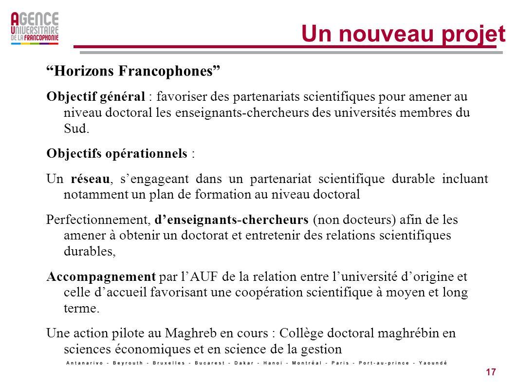 17 Un nouveau projet Horizons Francophones Objectif général : favoriser des partenariats scientifiques pour amener au niveau doctoral les enseignants-chercheurs des universités membres du Sud.