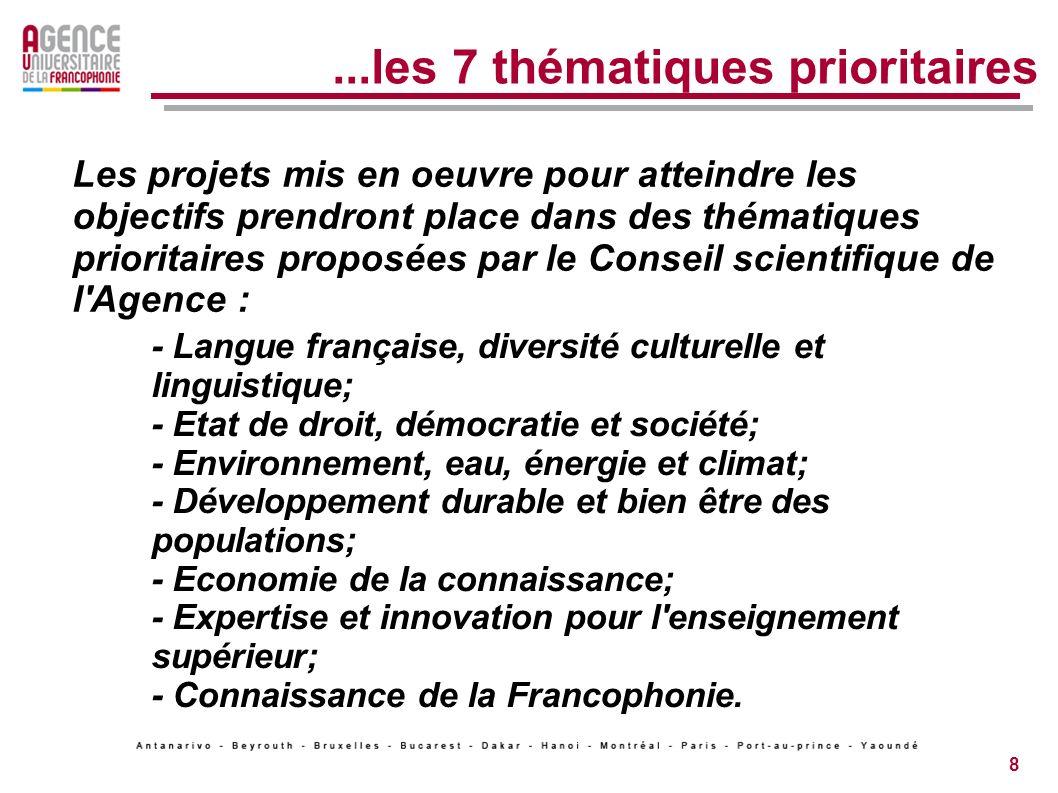 8...les 7 thématiques prioritaires - Langue française, diversité culturelle et linguistique; - Etat de droit, démocratie et société; - Environnement, eau, énergie et climat; - Développement durable et bien être des populations; - Economie de la connaissance; - Expertise et innovation pour l enseignement supérieur; - Connaissance de la Francophonie.