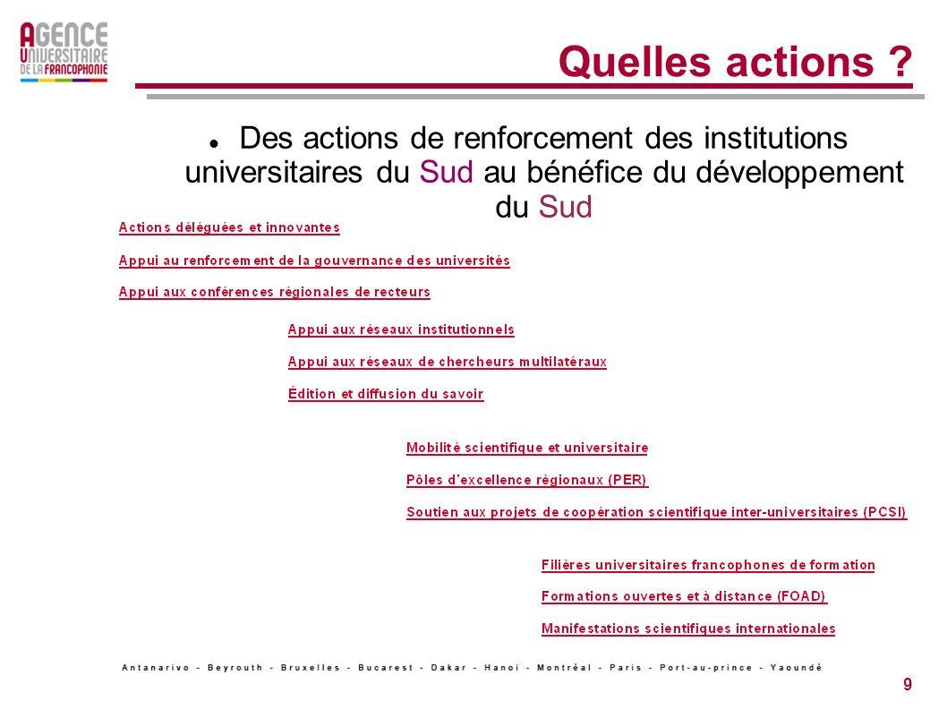 9 Quelles actions .