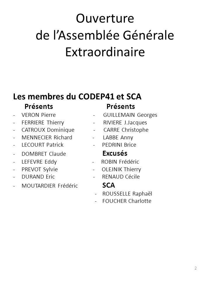 Ouverture de lAssemblée Générale Extraordinaire Les membres du CODEP41 et SCA Présents Présents -VERON Pierre - GUILLEMAIN Georges -FERRIERE Thierry -