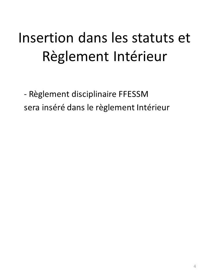Insertion dans les statuts et Règlement Intérieur - Règlement disciplinaire FFESSM sera inséré dans le règlement Intérieur 4