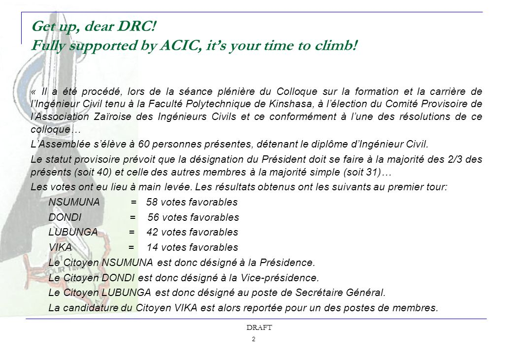 3 DRAFT Get up, dear DRC.Fully supported by ACIC, its your time to climb.