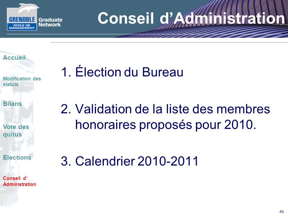 41 Conseil dAdministration 1.Élection du Bureau 2.Validation de la liste des membres honoraires proposés pour 2010. 3.Calendrier 2010-2011 Accueil Mod