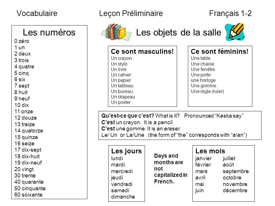 VocabulaireLeçon Préliminaire Français 1-2 Les numéros 0 zéro 1 un 2 deux 3 trois 4 quatre 5 cinq 6 six 7 sept 8 huit 9 neuf 10 dix 11 onze 12 douze 1