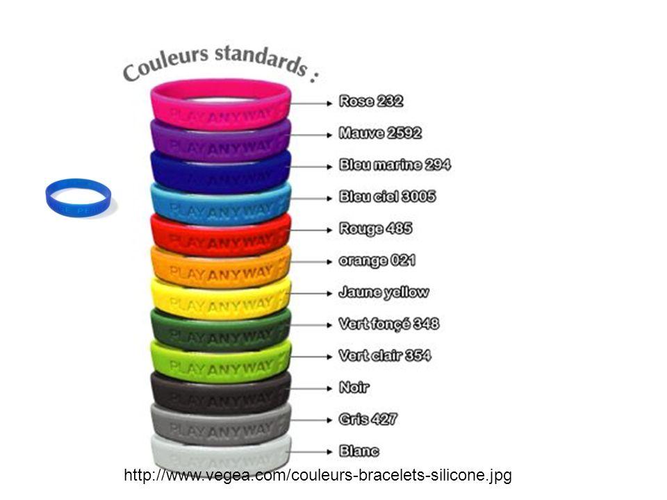 Francais http://www.vegea.com/couleurs-bracelets-silicone.jpg