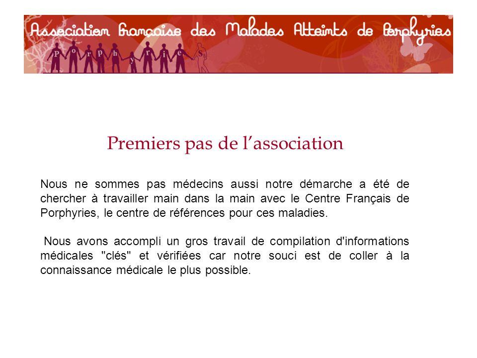 Premiers pas de lassociation Nous ne sommes pas médecins aussi notre démarche a été de chercher à travailler main dans la main avec le Centre Français de Porphyries, le centre de références pour ces maladies.