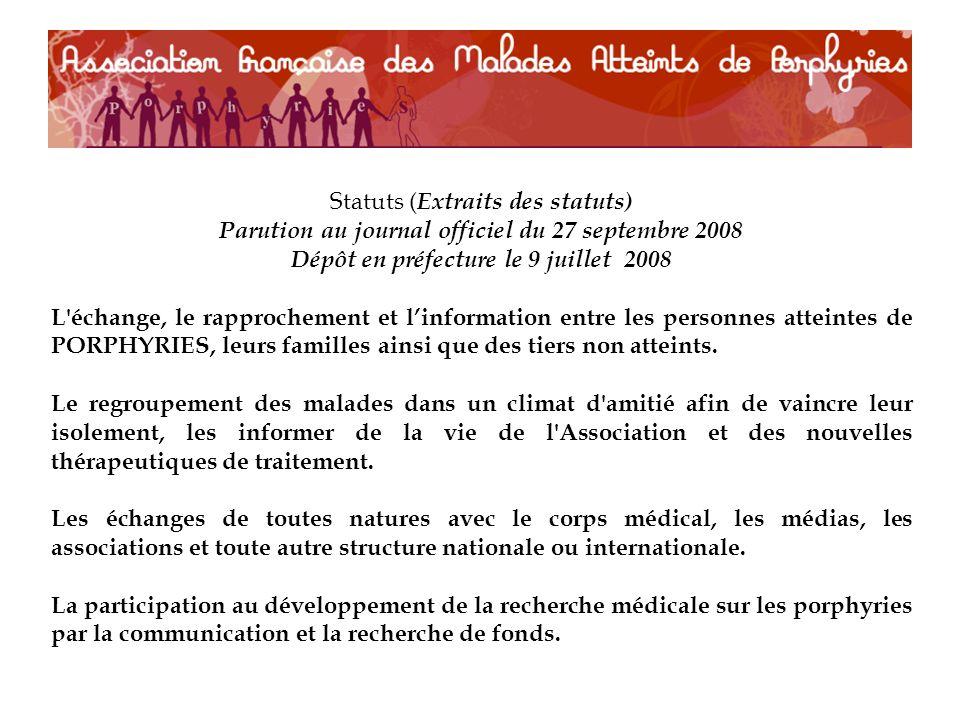 Statuts ( Extraits des statuts) Parution au journal officiel du 27 septembre 2008 Dépôt en préfecture le 9 juillet 2008 L'échange, le rapprochement et