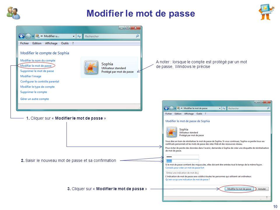 Modifier le mot de passe 1. Cliquer sur « Modifier le mot de passe » A noter : lorsque le compte est protégé par un mot de passe, Windows le précise 2