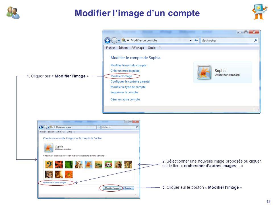 Modifier limage dun compte 1. Cliquer sur « Modifier limage » 2. Sélectionner une nouvelle image proposée ou cliquer sur le lien « rechercher dautres