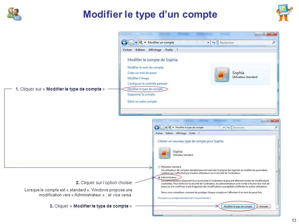 Modifier le type dun compte 1. Cliquer sur « Modifier le type de compte » 2. Cliquer sur loption choisie 3. Cliquer « Modifier le type de compte » Lor