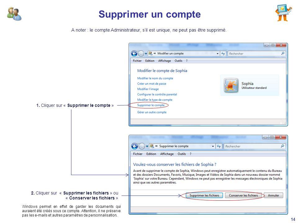 Supprimer un compte 1. Cliquer sur « Supprimer le compte » 2. Cliquer sur « Supprimer les fichiers » ou « Conserver les fichiers » Windows permet en e