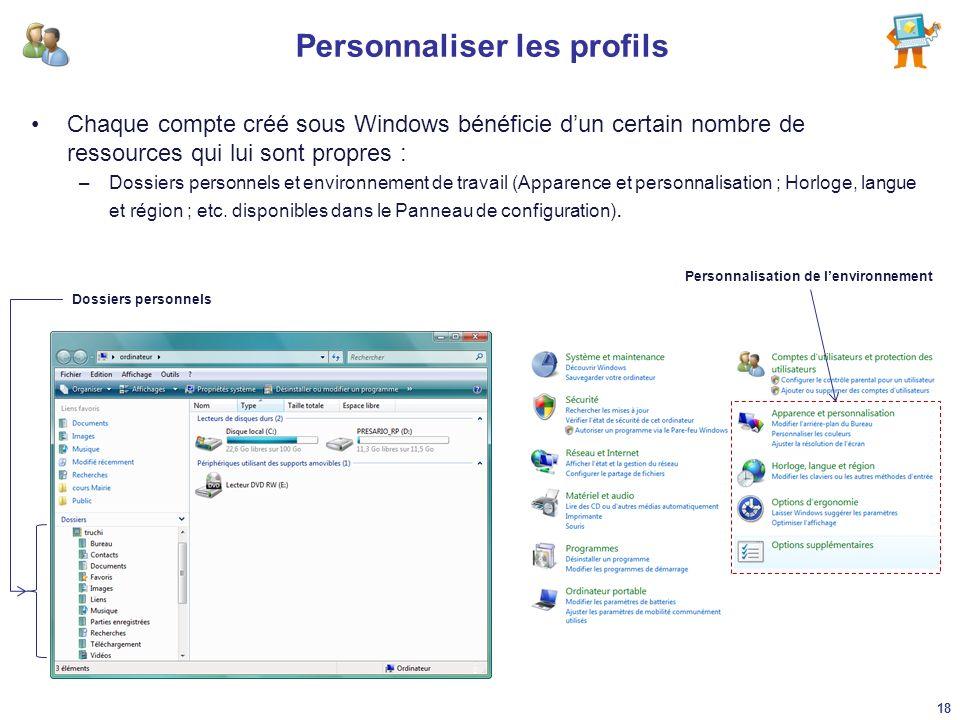 Personnaliser les profils Chaque compte créé sous Windows bénéficie dun certain nombre de ressources qui lui sont propres : –Dossiers personnels et en