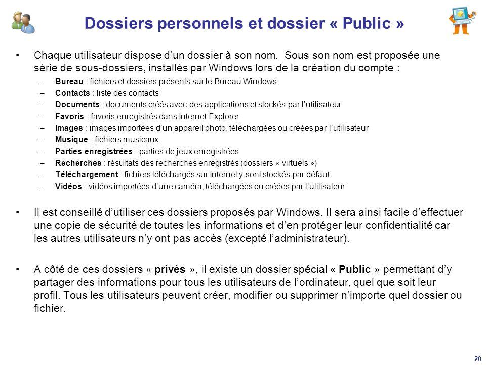 Dossiers personnels et dossier « Public » Chaque utilisateur dispose dun dossier à son nom. Sous son nom est proposée une série de sous-dossiers, inst