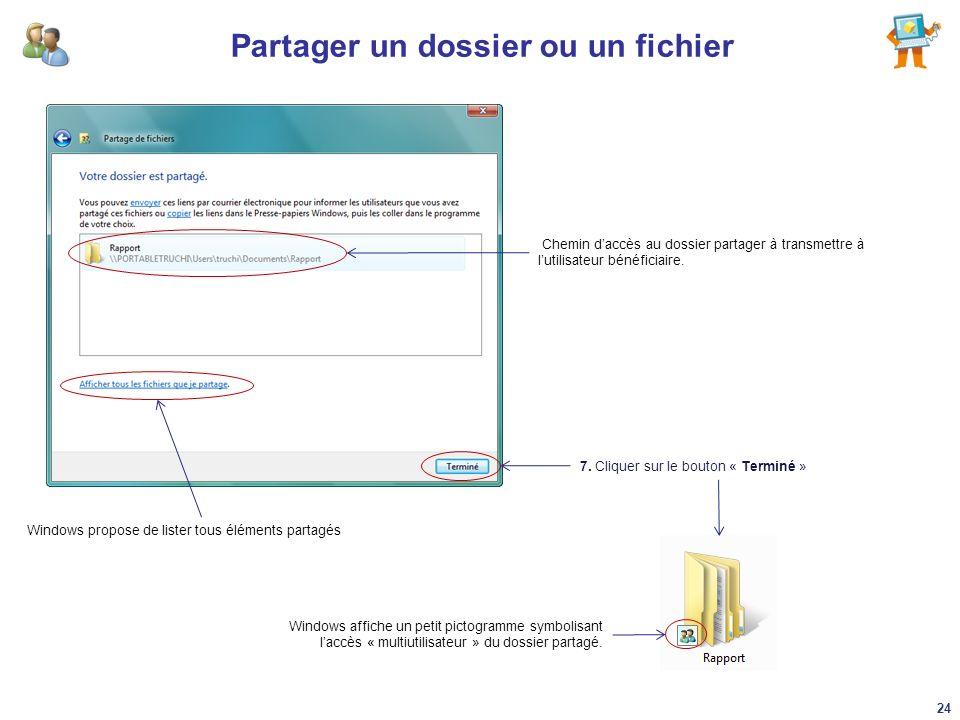 Partager un dossier ou un fichier 7. Cliquer sur le bouton « Terminé » Chemin daccès au dossier partager à transmettre à lutilisateur bénéficiaire. Wi