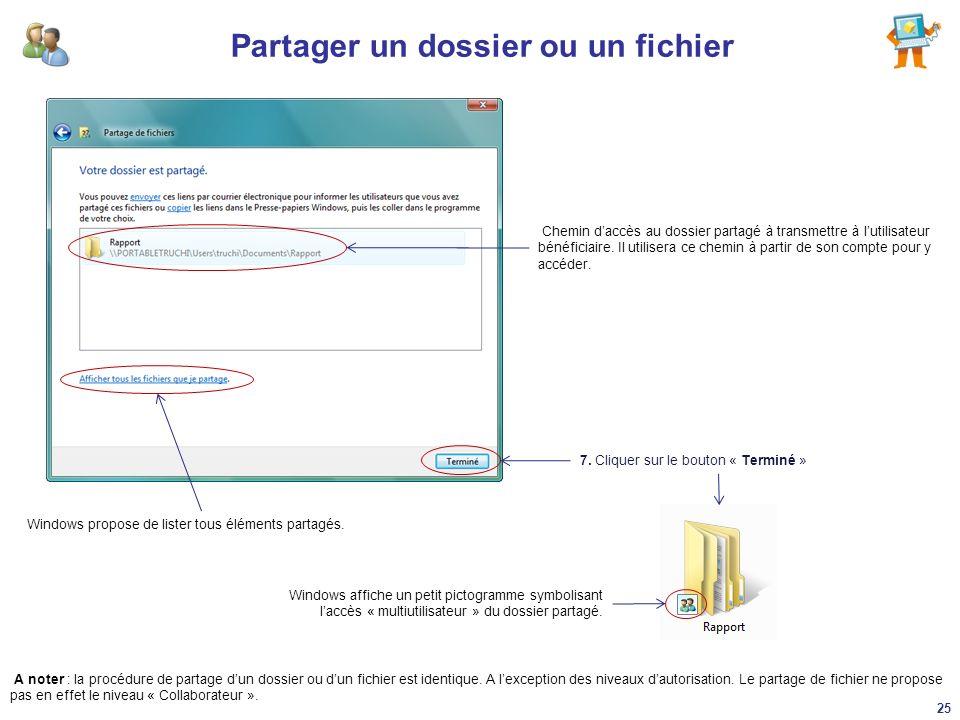 Partager un dossier ou un fichier 7. Cliquer sur le bouton « Terminé » Chemin daccès au dossier partagé à transmettre à lutilisateur bénéficiaire. Il