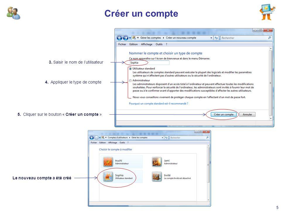 Modifier un compte A partir du Panneau de configuration, aller dans le module « Comptes dutilisateurs et protection des utilisateurs » : 1.