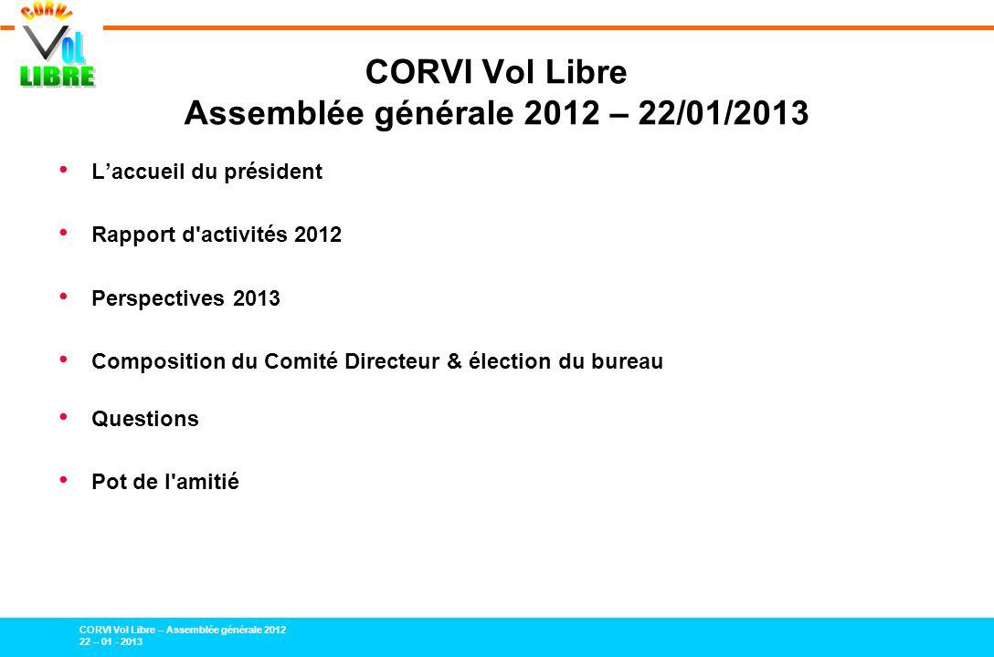 CORVI Vol Libre – Assemblée générale 2012 22 – 01 - 2013 Laccueil du président