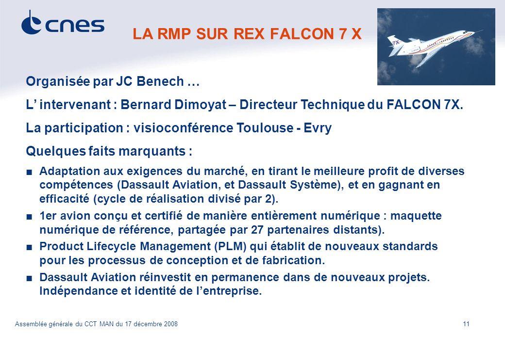 11 CCT MAN Assemblée générale du CCT MAN du 17 décembre 2008 LA RMP SUR REX FALCON 7 X Organisée par JC Benech … L intervenant : Bernard Dimoyat – Dir