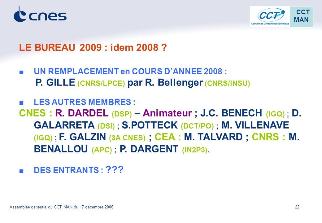 22 CCT MAN Assemblée générale du CCT MAN du 17 décembre 2008 LE BUREAU 2009 : idem 2008 ? UN REMPLACEMENT en COURS DANNEE 2008 : P. GILLE (CNRS/LPCE)