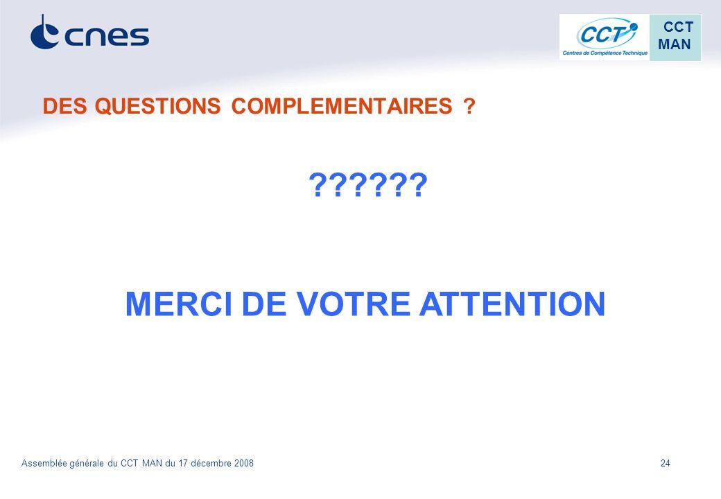 24 CCT MAN Assemblée générale du CCT MAN du 17 décembre 2008 DES QUESTIONS COMPLEMENTAIRES ? ?????? MERCI DE VOTRE ATTENTION