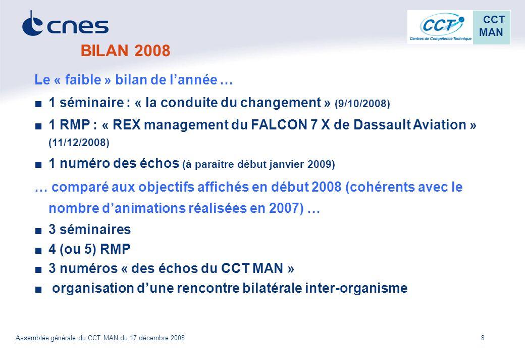 8 CCT MAN Assemblée générale du CCT MAN du 17 décembre 2008 BILAN 2008 Le « faible » bilan de lannée … 1 séminaire : « la conduite du changement » (9/