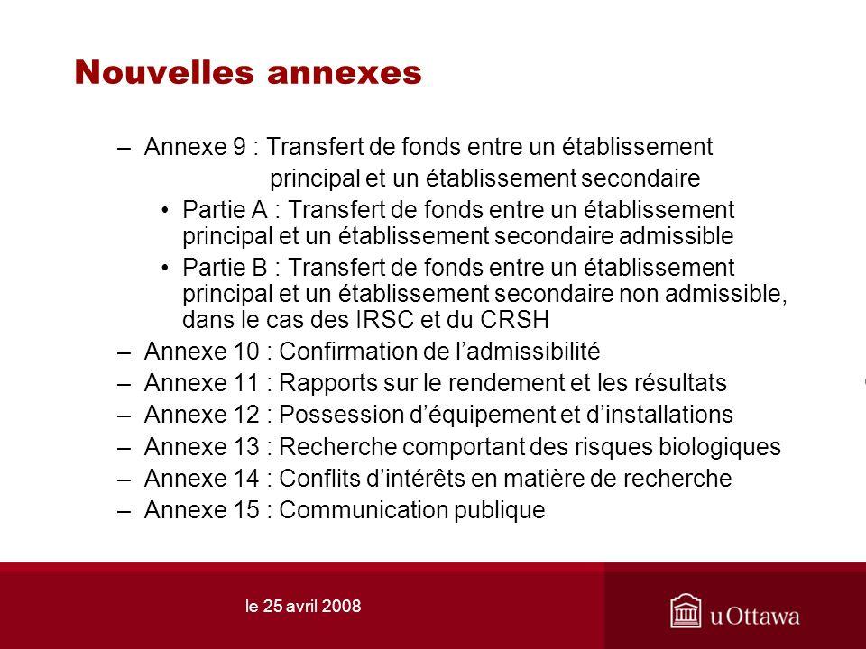 le 25 avril 2008 Nouvelles annexes –Annexe 9 : Transfert de fonds entre un établissement principal et un établissement secondaire Partie A : Transfert