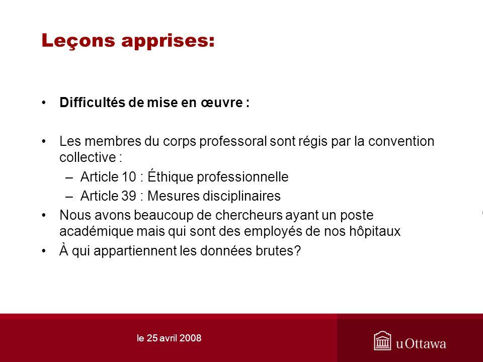 le 25 avril 2008 Leçons apprises: Difficultés de mise en œuvre : Les membres du corps professoral sont régis par la convention collective : –Article 1