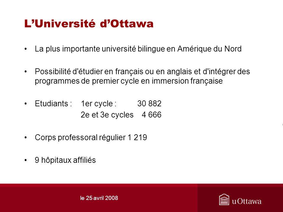 LUniversité dOttawa La plus importante université bilingue en Amérique du Nord Possibilité d'étudier en français ou en anglais et d'intégrer des progr