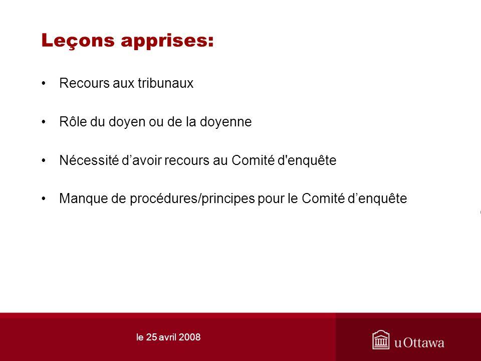 le 25 avril 2008 Leçons apprises: Recours aux tribunaux Rôle du doyen ou de la doyenne Nécessité davoir recours au Comité d'enquête Manque de procédur