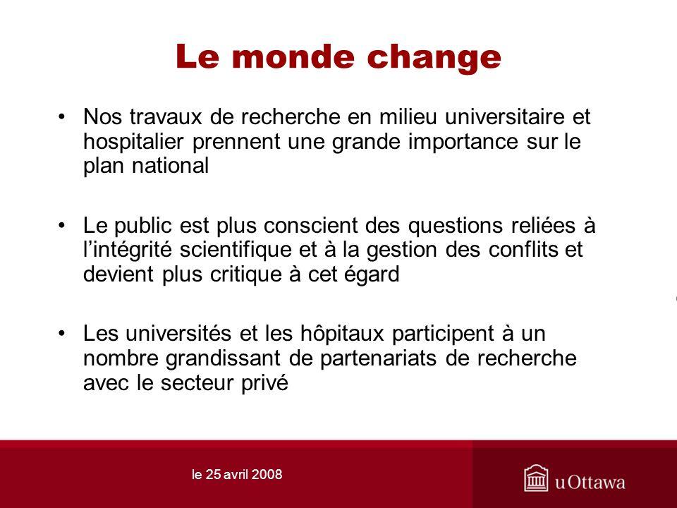 le 25 avril 2008 Le monde change Nos travaux de recherche en milieu universitaire et hospitalier prennent une grande importance sur le plan national L