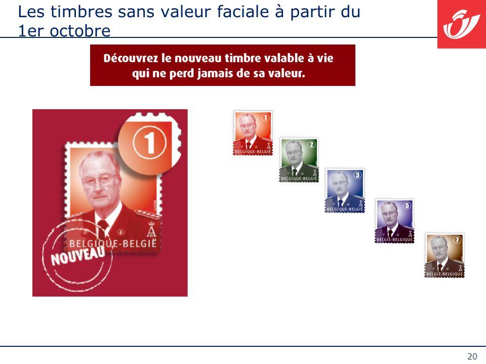 20 Les timbres sans valeur faciale à partir du 1er octobre