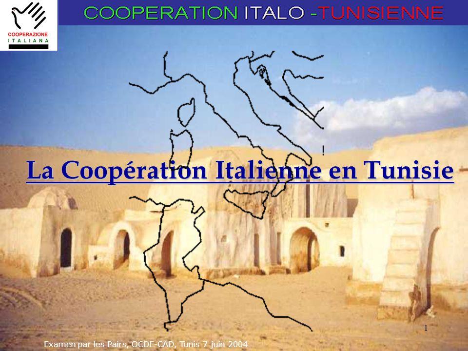 Examen par les Pairs, OCDE-CAD, Tunis 7 juin 2004 1 La Coopération Italienne en Tunisie
