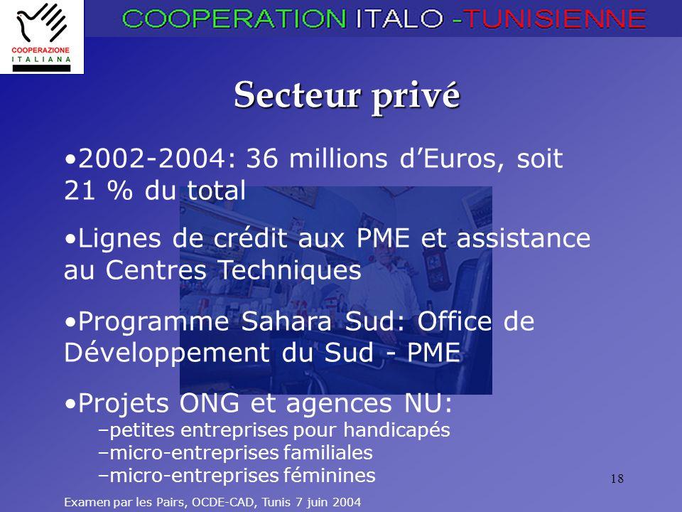Examen par les Pairs, OCDE-CAD, Tunis 7 juin 2004 18 Secteur privé 2002-2004: 36 millions dEuros, soit 21 % du total Lignes de crédit aux PME et assistance au Centres Techniques Programme Sahara Sud: Office de Développement du Sud - PME Projets ONG et agences NU: –petites entreprises pour handicapés –micro-entreprises familiales –micro-entreprises féminines