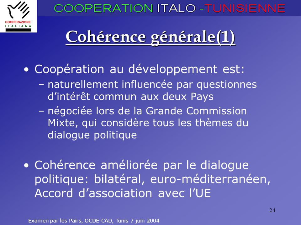 Examen par les Pairs, OCDE-CAD, Tunis 7 juin 2004 24 Cohérence générale(1) Coopération au développement est: –naturellement influencée par questionnes