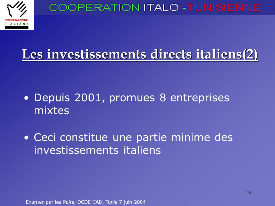 Examen par les Pairs, OCDE-CAD, Tunis 7 juin 2004 29 Les investissements directs italiens(2) Depuis 2001, promues 8 entreprises mixtes Ceci constitue