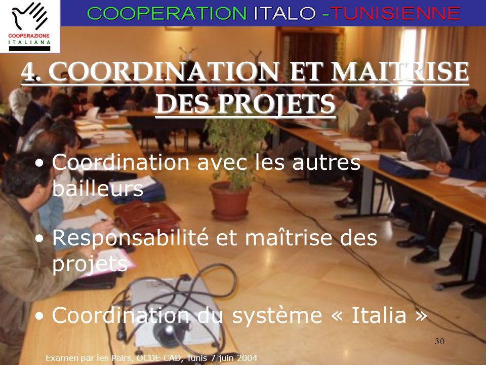 Examen par les Pairs, OCDE-CAD, Tunis 7 juin 2004 30 4. COORDINATION ET MAITRISE DES PROJETS Coordination avec les autres bailleurs Responsabilité et