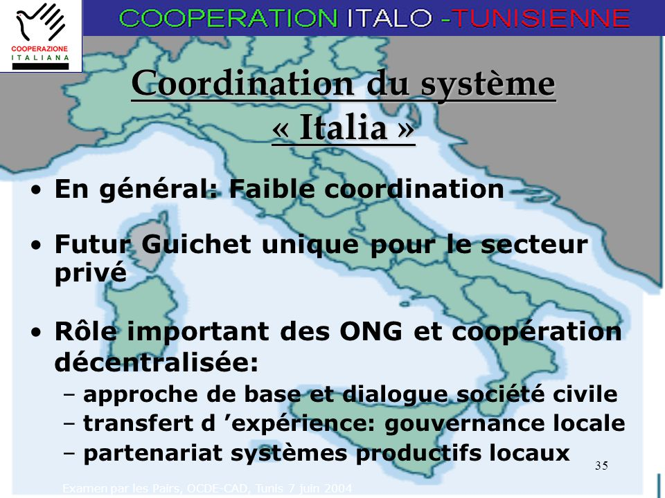 Examen par les Pairs, OCDE-CAD, Tunis 7 juin 2004 35 Coordination du système « Italia » En général: Faible coordination Futur Guichet unique pour le secteur privé Rôle important des ONG et coopération décentralisée: –approche de base et dialogue société civile –transfert d expérience: gouvernance locale –partenariat systèmes productifs locaux