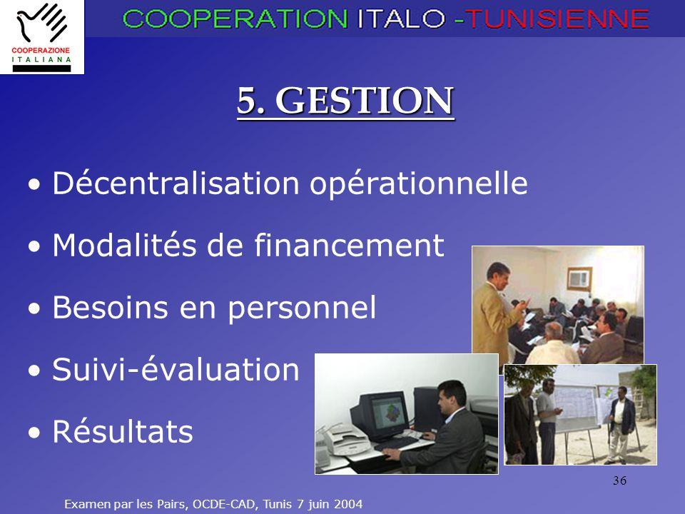 Examen par les Pairs, OCDE-CAD, Tunis 7 juin 2004 36 5. GESTION Décentralisation opérationnelle Modalités de financement Besoins en personnel Suivi-év
