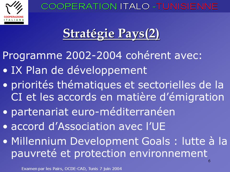 Examen par les Pairs, OCDE-CAD, Tunis 7 juin 2004 6 Stratégie Pays(2) Programme 2002-2004 cohérent avec: IX Plan de développement priorités thématiques et sectorielles de la CI et les accords en matière démigration partenariat euro-méditerranéen accord dAssociation avec lUE Millennium Development Goals : lutte à la pauvreté et protection environnement