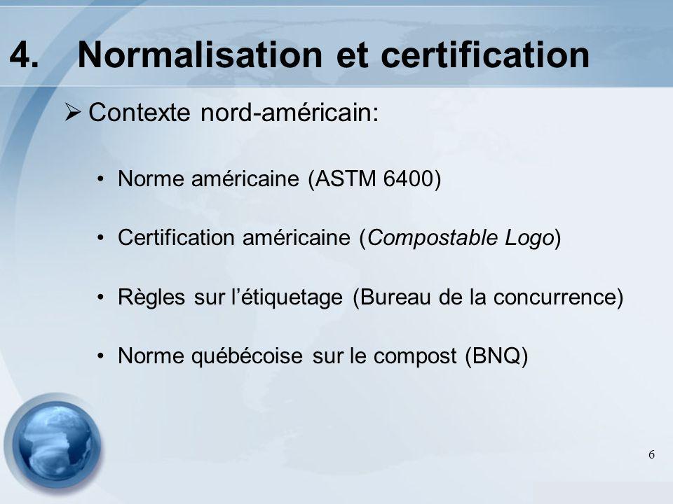 6 Contexte nord-américain: Norme américaine (ASTM 6400) Certification américaine (Compostable Logo) Règles sur létiquetage (Bureau de la concurrence) Norme québécoise sur le compost (BNQ) 4.Normalisation et certification