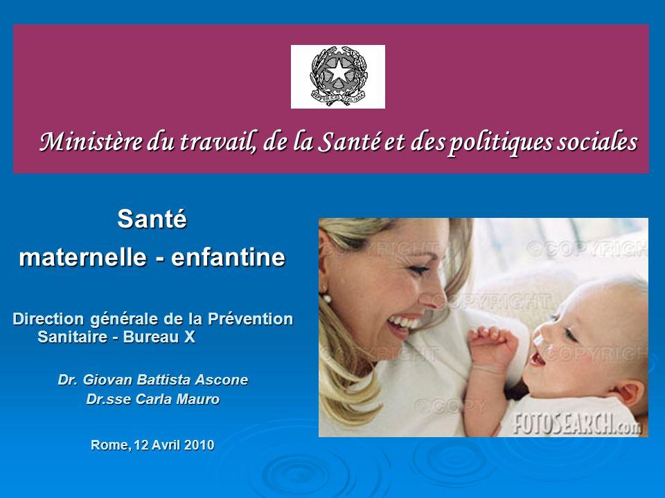 Ministère du travail, de la Santé et des politiques sociales Santé maternelle - enfantine Direction générale de la Prévention Sanitaire - Bureau X Dr.