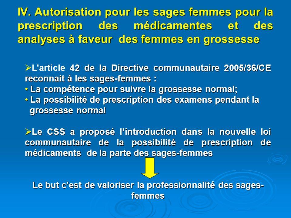 IV. Autorisation pour les sages femmes pour la prescription des médicamentes et des analyses à faveur des femmes en grossesse 42 de la Directive commu