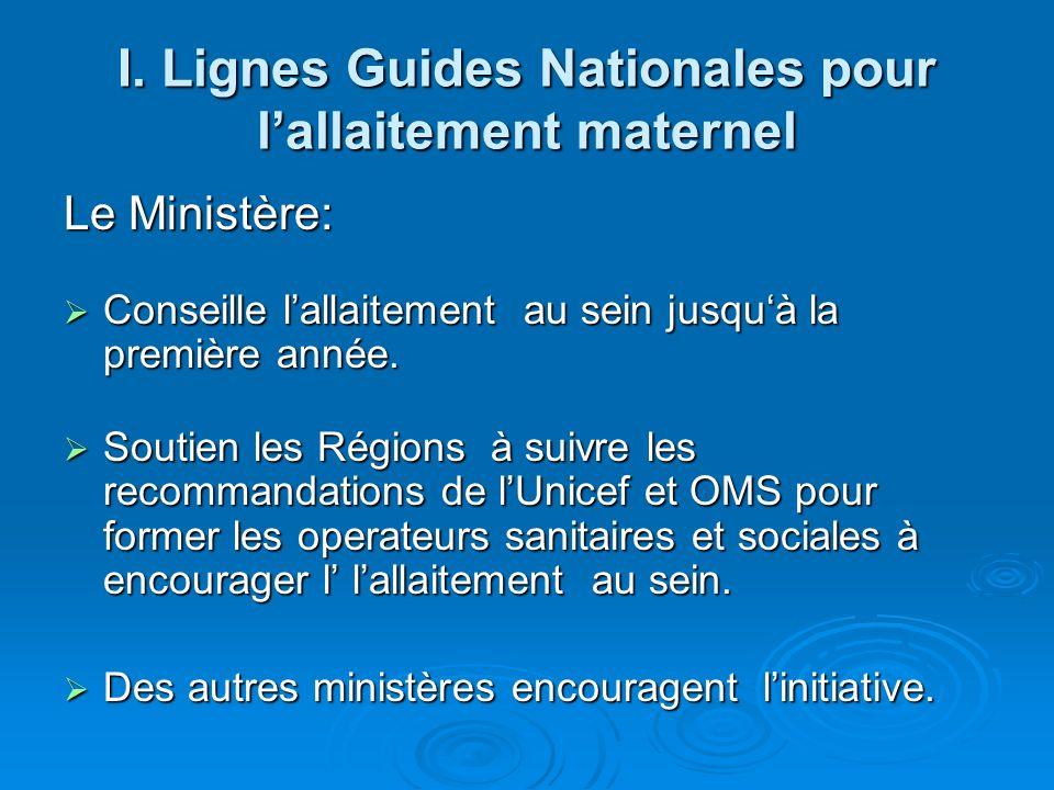 I. Lignes Guides Nationales pour lallaitement maternel Le Ministère: Conseille lallaitement au sein jusquà la première année. Conseille lallaitement a