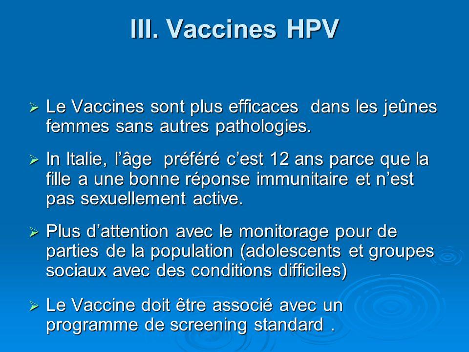 III. Vaccines HPV Le Vaccines sont plus efficaces dans les jeûnes femmes sans autres pathologies.