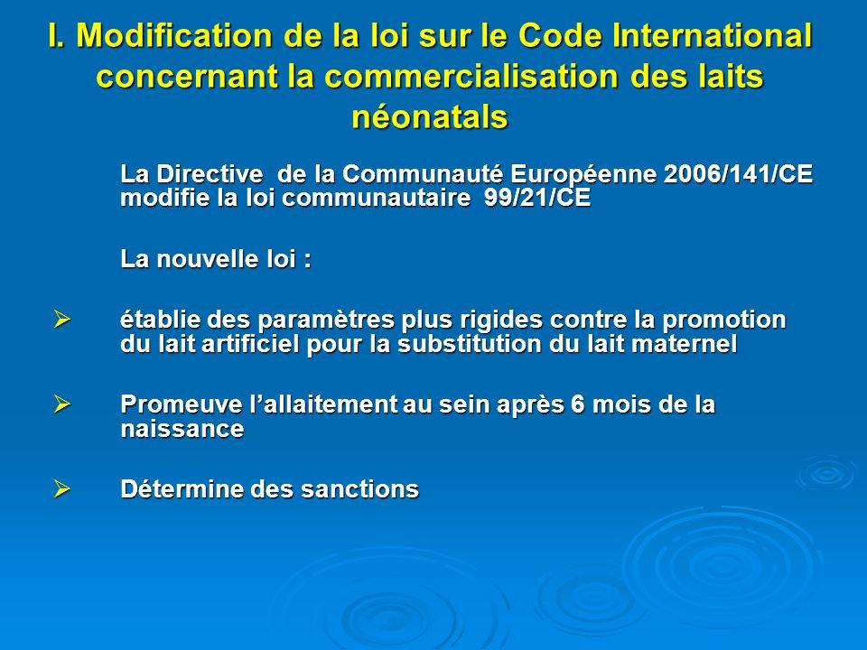I. Modification de la loi sur le Code International concernant la commercialisation des laits néonatals La Directive de la Communauté Européenne 2006/